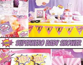 Girl Superhero Baby Shower Decorations Package Scarlett BC72 Printable