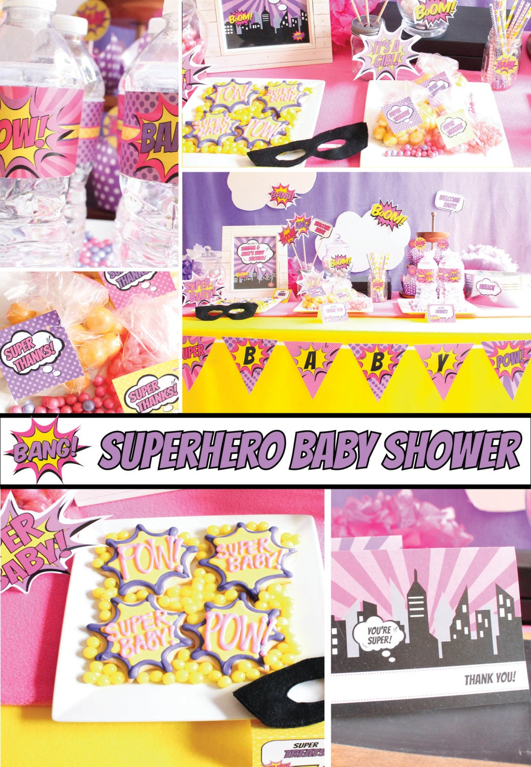 Baby Shower Decoration Packages : Girl superhero baby shower decorations package scarlett bc