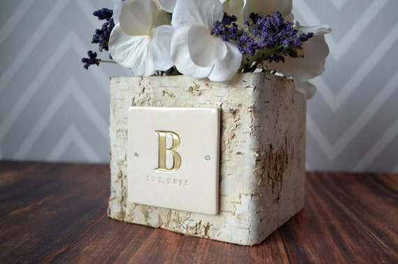 PERSONALIZED Wedding Gift Small Square Birch Vase by Susabellas