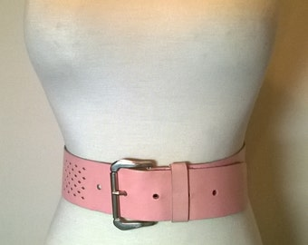 Vintage PINK BELT-Perforated Leather Design Square Silver Buckle - Lg-XLG
