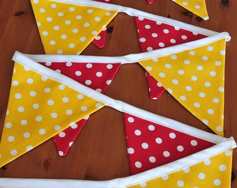 Dotted flag bunting.Home decoration garland.Red and yellow flag bunting.Nursery fabric bunting.Handmade and Ready to ship!
