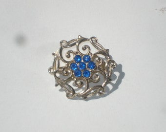 Vintage Flower Brooch - Blue Silver Tone Small Retro Floral Pin - 1960s