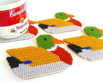 Plastic Canvas Coasters Duck Coasters Plastic Canvas Decor Duck Coaster Set Cup Coasters Mug Mats Mug Rugs Country Home Decor Gift for Him