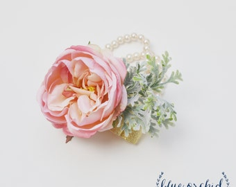 Peony Corsage, Cabbage Rose Corsage, Wrist Corsage, Pink Corsage, Wedding Corsage, Pearl Bracelet Corsage, Bridesmaid Gift