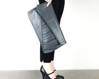 Clutch Purse Vintage Gray Leather Evening Bag
