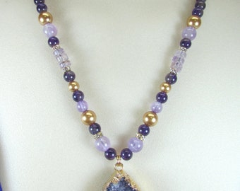 Purple Amethyst, Drusy, Swarovski pearl necklace, Gold
