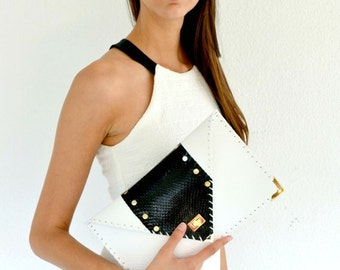 White leather clutch with genuine black snakeskin / Handmade leather bag / Genuine snakeskin / Leather purse