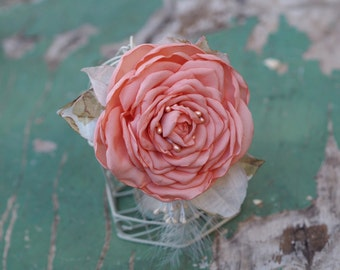 Flower Headpiece, Wedding Hair Clip, Wedding Hair Fascinator, Feather Bridal Hair Flower, Peach Bridal Accessory