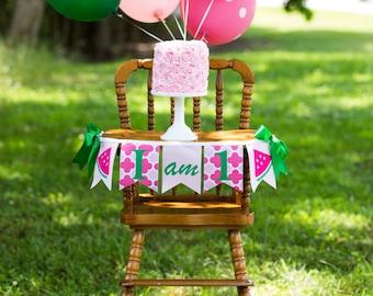 WATERMELON BIRTHDAY BANNER / First birthday girl. I am one banner. I am 1 banner. Watermelon birthday decorations. Watermelon birthday party