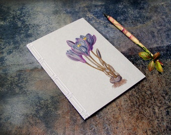 Crocus. Embroidered Notebook. Botanical Journal. Floral Notebook. Purple Journal. Romantic Notebook. Nature Journal. Botanical Notebook