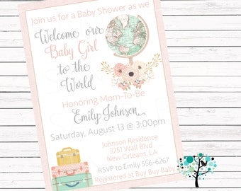 Welcome to the World vintage globe Girl baby shower Personalized invitation -Printable File