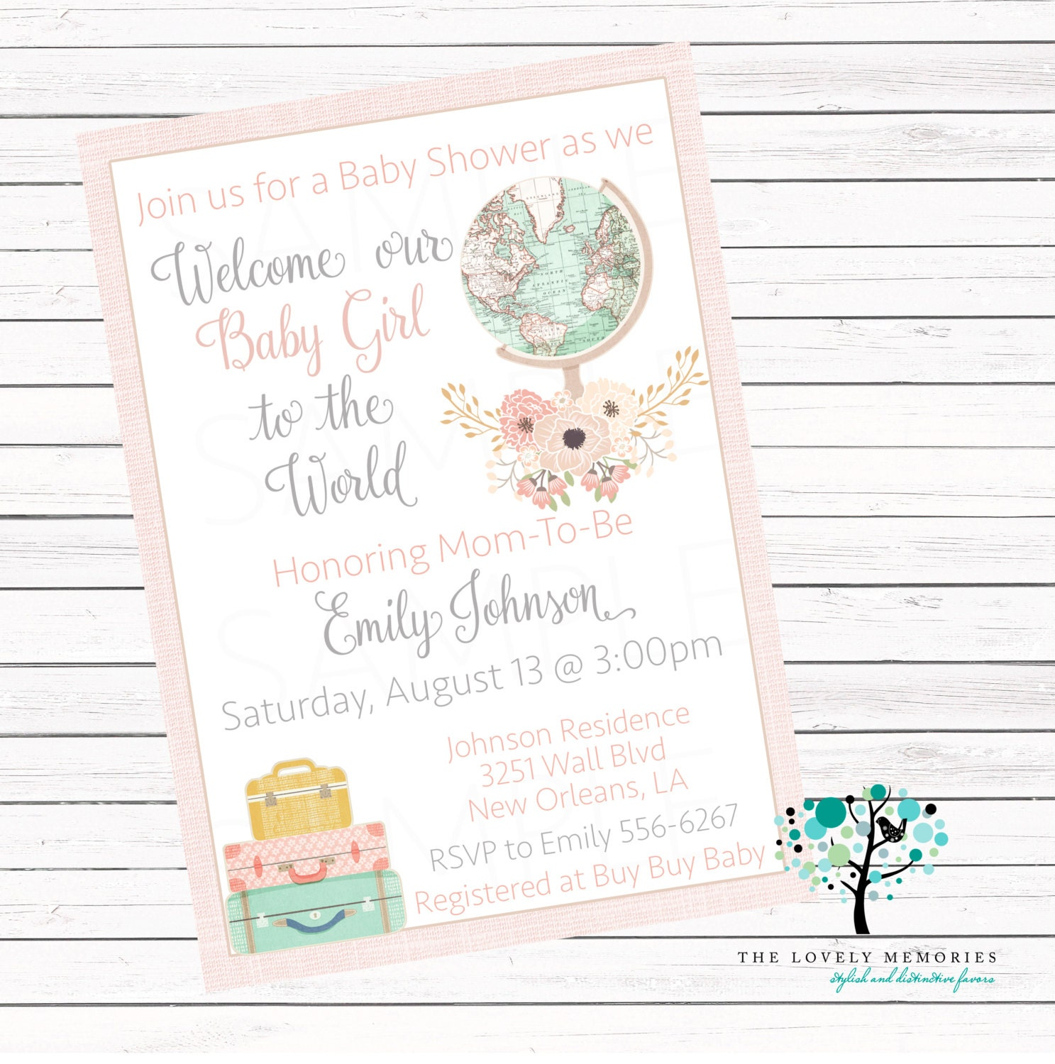 Welcome to the World vintage globe Girl baby shower Personalized ...