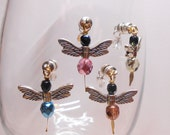 Wine Glass Charms, Dragonfly Wine Glass Charms, Unique Stemless Wine Charms, Wine Charms, Bridal Shower, Wedding Wine Charms WC404