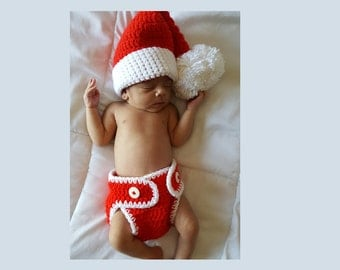 Baby Christmas Photo Prop, Crochet Baby Santa Hat, Crochet Christmas Baby Photo Prop, Crochet Baby Set