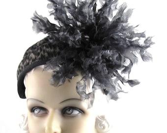 Womens Hat Headpiece Black Flower Animal Print Church Bride Handmade Hat Headpiece Derby Ascot Races Art Deco Custom Made for Each Client