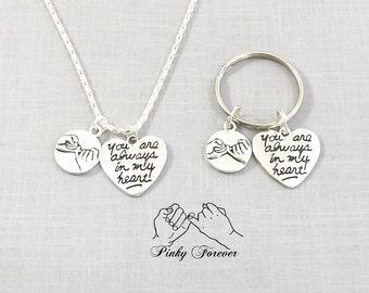 Boyfriend Girlfriend Necklace or Keychain, Couple Set His Hers Couples Necklace Pinky Promise Pinky Swear Always In My Heart Always Love You