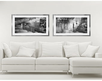 Wall art Set of 2 black and white abstract art, city prints, panoramic photography, extra large art, living room, 18x36, 12x24, 20x40, 24x48