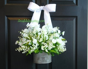 spring wreath summer wreath lily of the valley front door wreaths vase decorations wall decor wedding wreath floral vase Mother's day gifts