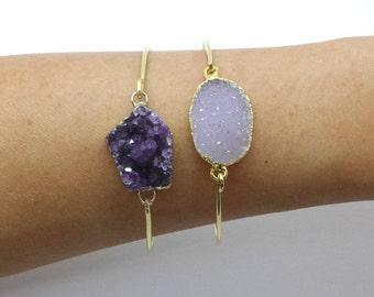 Amethyst Cuff, Amethyst Bracelet, Gold Stone Bangle, Amethyst Cluster