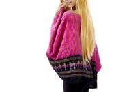 Pink Silk Kimono, Bohemian Gypsy Crop Jacket, Cropped Top, Indian Patola, Boho, Tribal, Loose Fitting Shrug Stole Cardigan