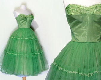 50's Prom Dress Green Tulle Strapless