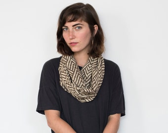 Taupe Atlas Infinity Scarf - Hand block printed, All Natural Vegetable Dyes, 100% Cotton Loop Scarf, Infinity Cowl, Tube Scarf