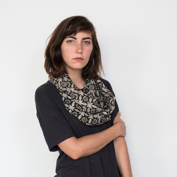 Taza Infinity Scarf - Hand block printed, Natural Vegetable Dyes, 100% Cotton