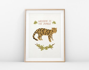 "Printable Art ""Welcome To The Jungle"" Leopard Print, Jungle Cat Wall Art, Nursery Print"