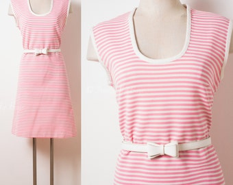 Pink Mod dress, Vintage 60s Dress, Mad Men dress, Vintage Pink dress, White Pink stripe dress, Vintage shift dress, 60s knit dress - M/L