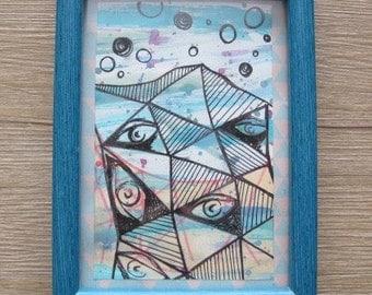 "5 x 7"" Geometric Eyes Mixed Media Wall Art"