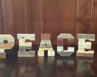 "Peace, wood letters, zen, reclaimed pallet letters, 7"" pallet letters, pallet word PEACE, rustic home decor, rustic wedding decor, dorm room"