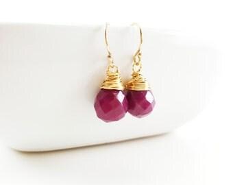 Ruby Earrings - 14k Gold Filled Earrings - Drop Earrings - Dainty Gemstone Teardrop Earrings - 14k Gold Filled - Gift for Her
