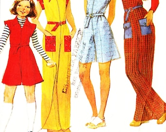 McCall's 5618 Retro 1970s Girl's Jumpsuit and Culotte Dress Sewing Pattern Sz 7