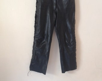 SALE 25%  1980's Real Thick Black Leather Lace Up Trousers Mid Rise Waist Cropped Minimal Grunge