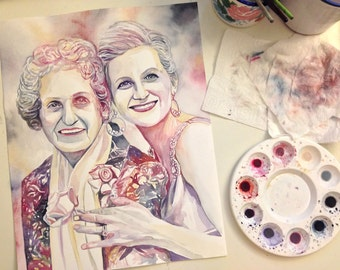 MOTHER PORTRAIT, GRANDMOTHER of the bride, mother of the bride, special gift, from daughter, gifts for mom, custom watercolor painting, gift