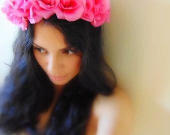 PINK ROSE Crown, Floral Headband, Floral Crown