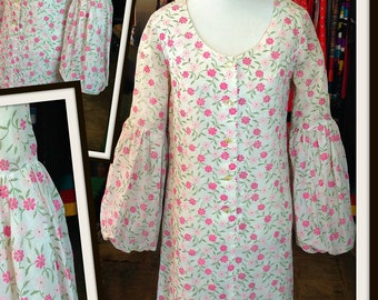 Vintage Pink Green White Floral Print Cotton Dress FREE SHIPPING