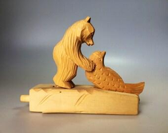 Bear with Fish Bogorodsk Toy