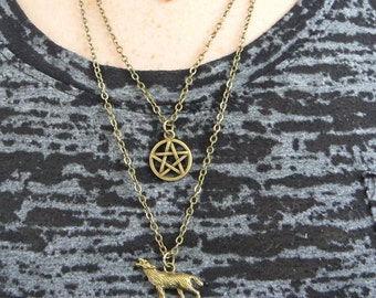 pagan necklace wolf necklace layered necklace 3 in 1 necklace gypsy soul festival Goth necklace cosplay boho hippie fantasy