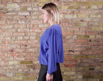 vinca 80s silk crop top / periwinkle blouse / large crop top / long sleeve silk / long sleeve crop / minimalist / boxy blouse / boxy crop