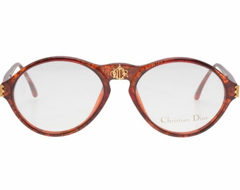 Christian Dior 2635 vintage rare preppy adorned tortoise & golde eyeglasses frames made in Germany, NOS