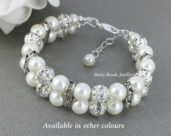 Pearl and Rhinestones Double Strand Pearl Bracelet, Pearl Bracelet, Bridesmaids Bracelet, Bridesmaid Gift, Bridal Jewelry