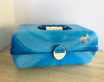 Vintage 80s Caboodles Makeup Case in Marbled Blue / Organizer Storage Container / Train Case
