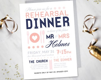 Modern Rehearsal Dinner Invitation (Digital file)
