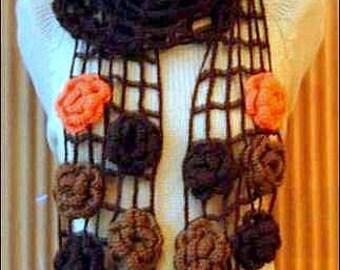 Crochet Flower Scarf Mesh Long Scarf Boho Lariat Scarf Scarflette English Rose Scarf Fashion Scarves Festival Scarf Gift For Her
