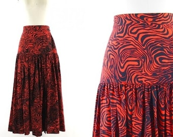 vintage wool Escada skirt / red &b black drop waist skirt / full printed skirt L