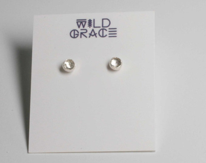 Tiny White TOPAZ Sterling Silver Stud Earrings - 4 mm white rose cut topaz - Wild Grace Jewelry