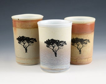 Juice Glass -Tree graphic fired into the glaze