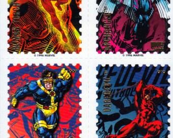 Vintage 1996 Marvel Comics Super Heroes Comic Book Sticker Stamps - Wolverine, Cyclops, Human Torch, Archangel, Daredevil, Spider-Man