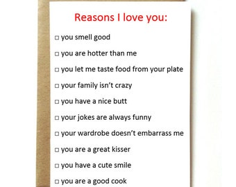 funny interactive love card, for boyfriend, girlfriend, husband, wife, funny anniversary card. Reasons I love you.